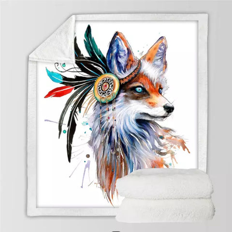 Fox By Pixie Cold Art Throw Rug