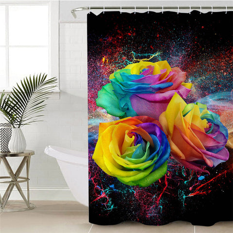 Three Rainbow Roses Shower Curtain