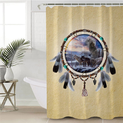 Picture Of Wolves In The Dreamcatcher Shower Curtain
