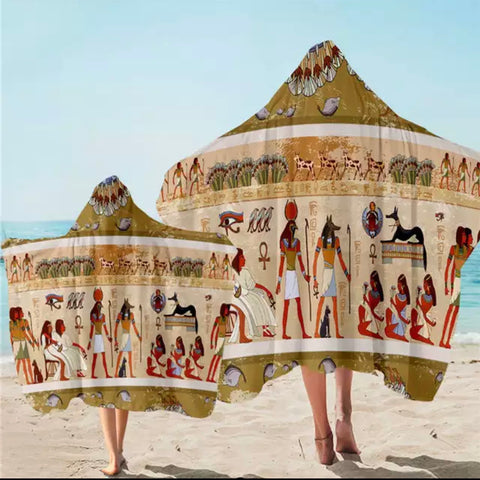 Ancient Egyptian Hieroglyphs Hooded Towel