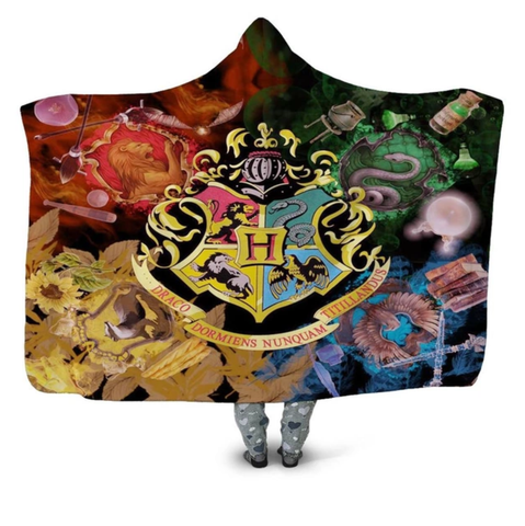 Hogwarts Emblem Hooded Blanket