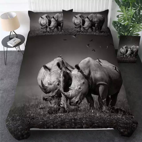 Black & White Rhino Bedding Set