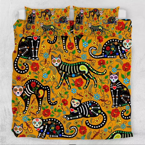 Day Of The Dead Cats (Orange) Bedding Set