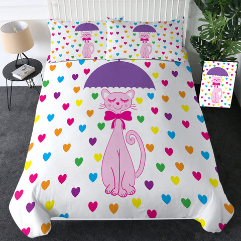 Pink Cat In Raining Hearts Bedding Set