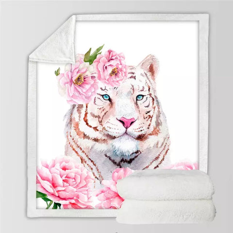 Tiger Face With Pink Flowers Throw Rug