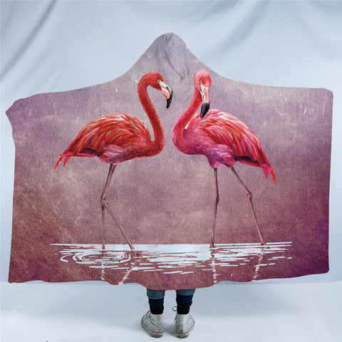 Couple Of Flamingos Hooded Blanket