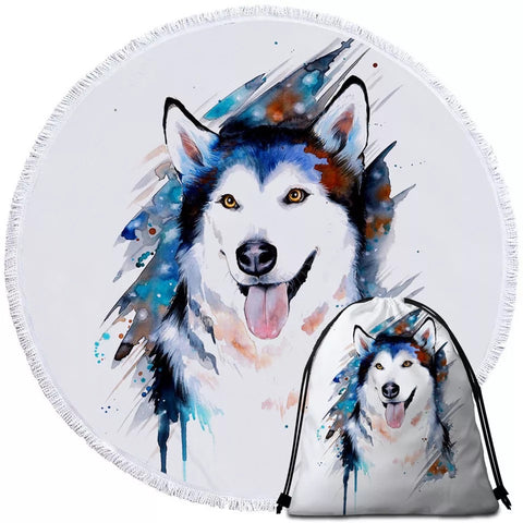 Husky By Pixie Cold Art Round Towel