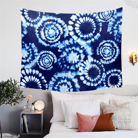 Blue Tie Dye Circles Wall Tapestry