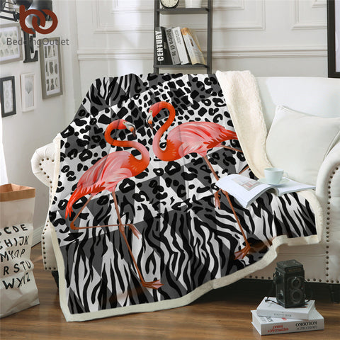 Flamingoes (Stripes) Throw Rug