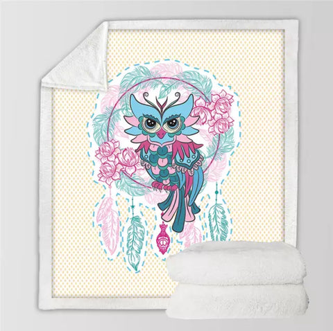 Pink & Green Owl Dreamcatcher Throw Rug