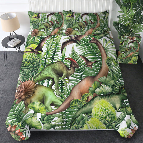Life Amongst The Dinosaurs Bedding Set