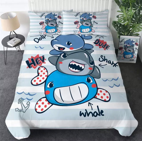 Cartoon Dolphin, Shark & Whale Bedding Set