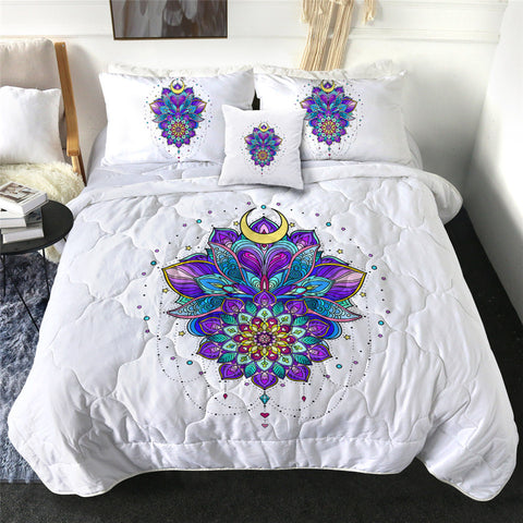 Purple & Blues Mandala Flower Comforter Set