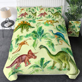 Green Dinosaur Breeds Bedding Set
