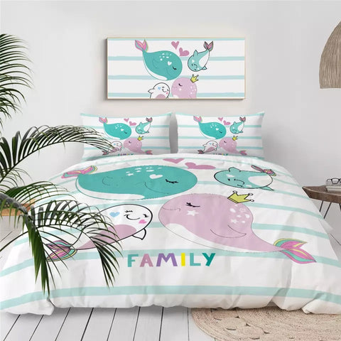 Family Whales Bedding Set