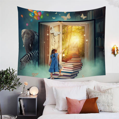Stairway Of Books Wall Tapestry