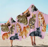Various Cat Breeds (Pink) Hooded Towel