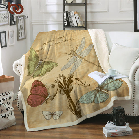 Retro Butterflies & Dragonfly Throw Rug