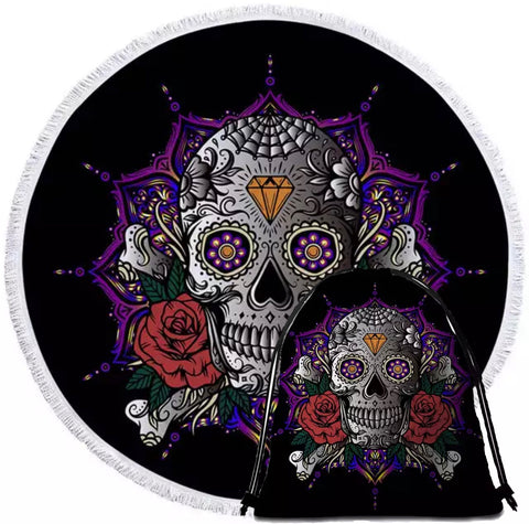 Day Of Dead Skull Round Towel