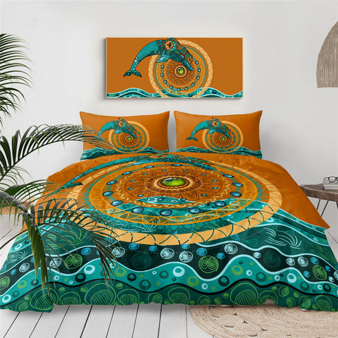 Mandala Dolphin Jumping Over The Sun Bedding Set