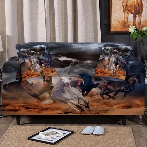 Wild Horses In Storm Sofa Cover