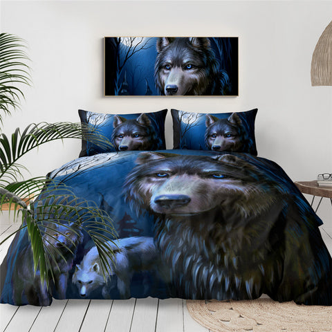 Three Wolves At Night Time Bedding Set