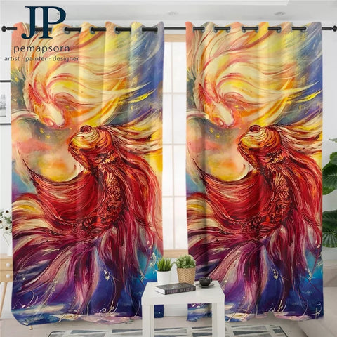 Fishes By JP.Pemapsorn Window Curtain