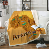 African Animals & Masks Map Throw Rug