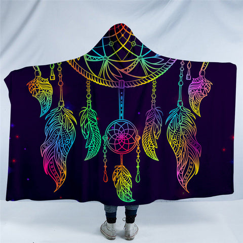 Vibrant Rainbow Dreamcatcher Hooded Blanket