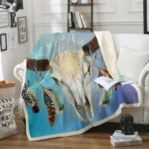 Blue To Purple Bull Skull Dreamcatcher Throw Rug