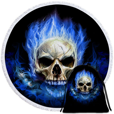 Blue Flamed Skull Round Towel