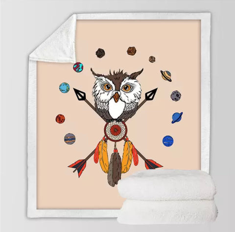 American Indian Owl Dreamcatcher Throw Rug