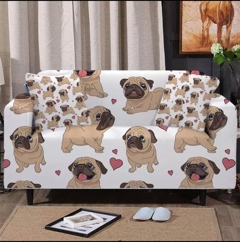 Pug Love Sofa Cover