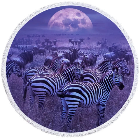 Purple Zebras Round Towel