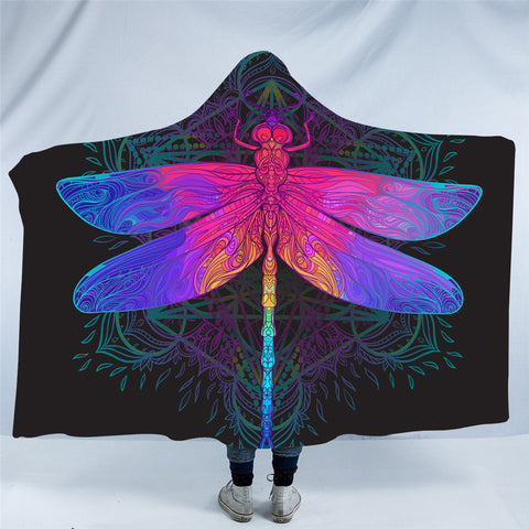 Rainbow Dragonfly Hooded Blanket