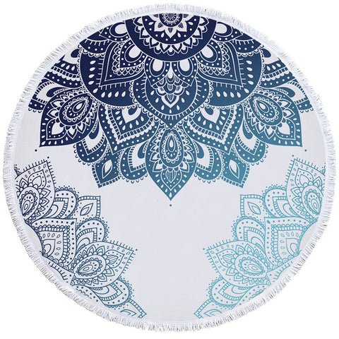 The Blues Mandalas Round Towel