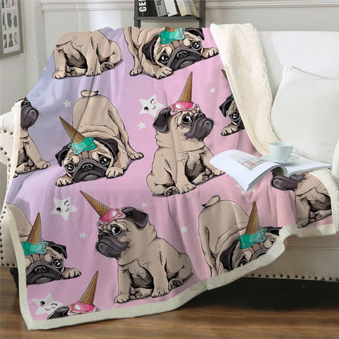 Pug With Ice Cream Cones Throw Rug