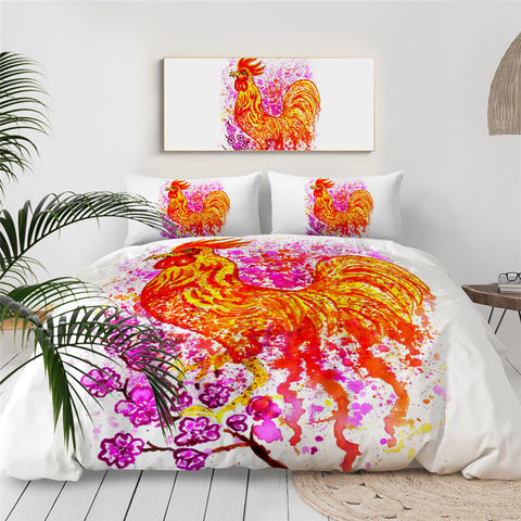 Watercolour Rooster Bedding Set