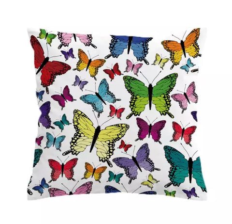 Rainbow Butterflies Cushion Cover
