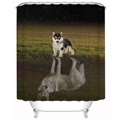 Husky Puppy Looking At Reflection Of Adult Self Shower Curtain