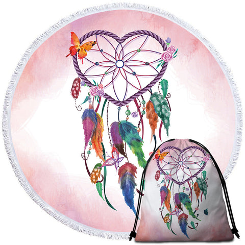 Heart Dreamcatcher (Pink) Round Towel