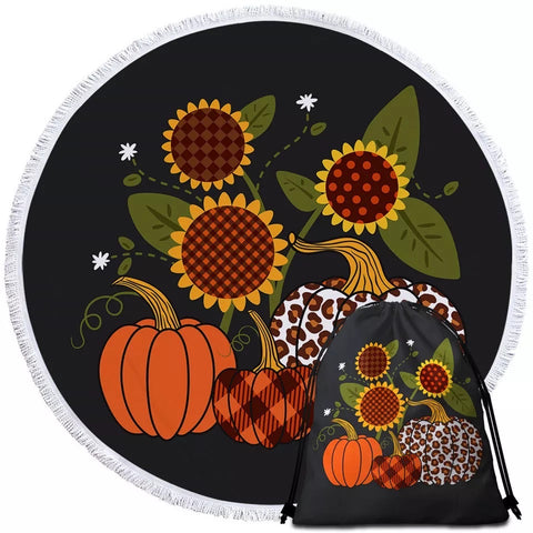 Three Sunflowers & Pumpkins Round Towel