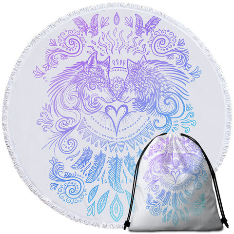 Wolves Heart (White) By SunimaArt Round Towel