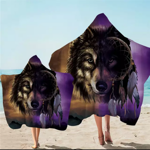 Wolf Infused Dreamcatcher Hooded Towel