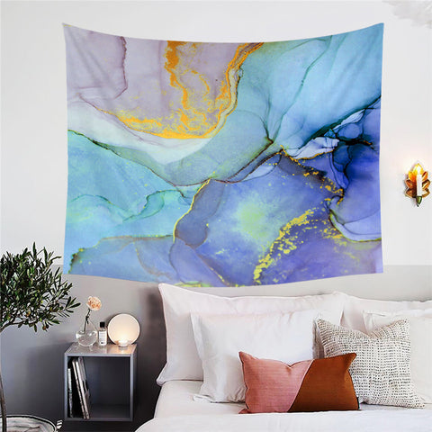Purple, Light & Dark Blue Marble Wall Tapestry