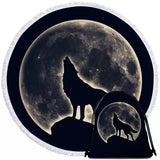 Wolf Howling At The Moon Round Towel