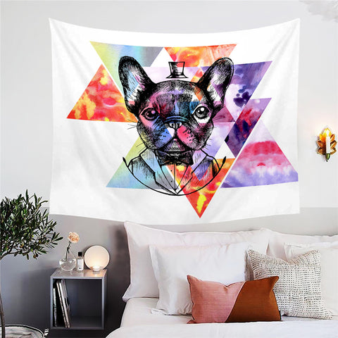 Geometric Gentleman Pug Wall Tapestry
