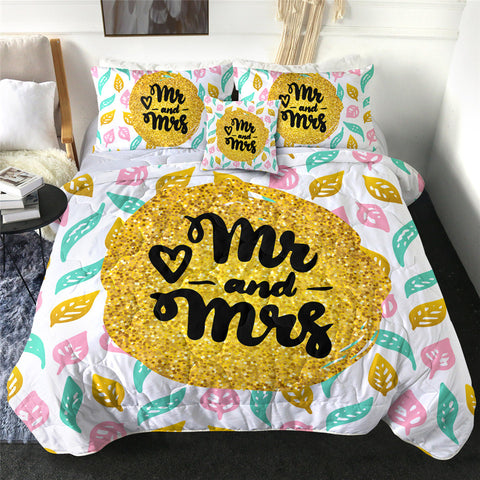 Yellow Mr & Mrs Comforter Set