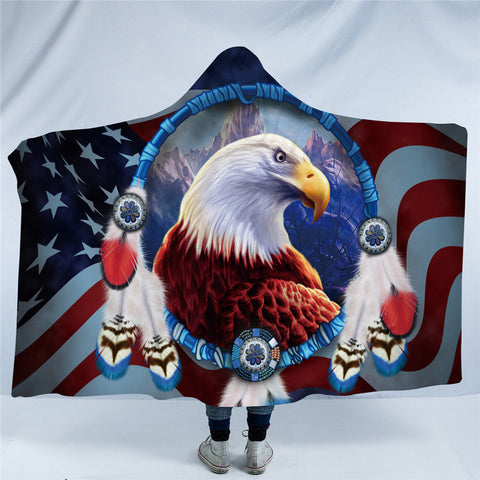 American Bald Eagle Dreamcatcher Hooded Blanket
