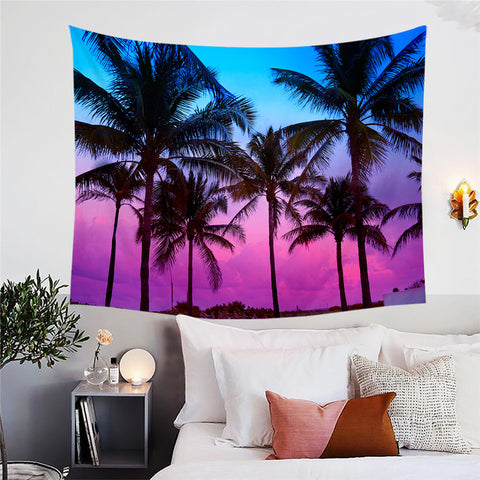 Purple & Blue Sunset Through Palm Trees Wall Tapestry